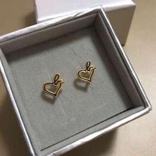 🈹 (全新) Agnes B Heart b Logo Earrings