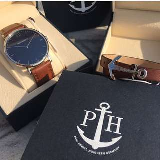 Paul Hewitt watch : SAILOR LINE Silver Blue Lagoon Leather Strap Brown