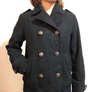 Black Trench Wool Winter Coat / Jacket