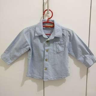 Baby Boy Toddler Blue Long Sleeve Polo 18M