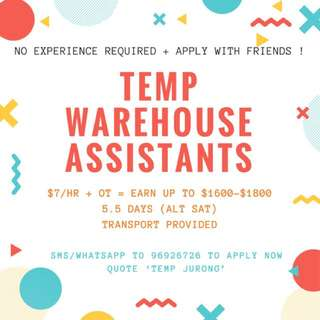 X10 Temp Warehouse Assistants - Earn Up to $2K with OT !
