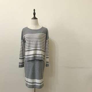 🚚 E hyphen 條紋針織休閒裙