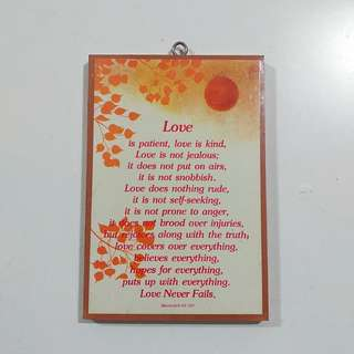 Inspirational quotes, love phrases wall display. Wooden. Rectangle.