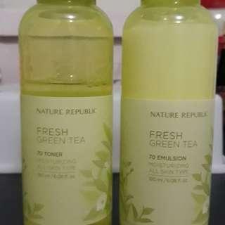 Nature Republic Green Tea Emulsion and Toner