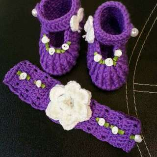 baby crochet headband & shoes