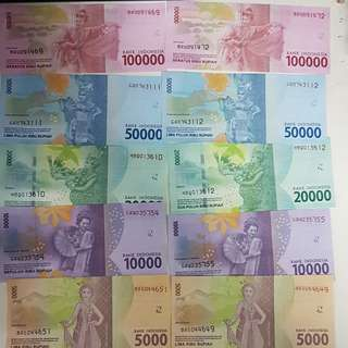 New set of indonesia rupiah currency for fun collection