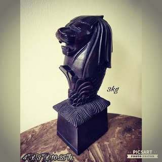 "1970s Merlion Wood Carving made of Heavy & Dense Good-Quality wood. It weighs a hefty 3kg for just a 10.25"" height figure. Good Condition. $78 Clearance Offer, sms 96337309 for fast deal."