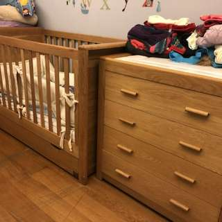 Natures wooden bed and drawers