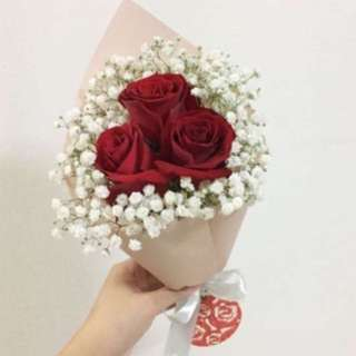 Rose Bouquet with White Baby Breath for Valentine's Day