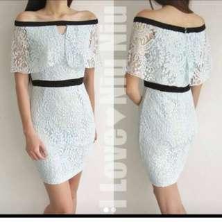 [PL] Off Shoulder Baby Blue Lace Dress