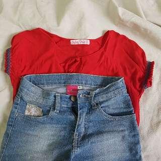 Byloz Girl Top & Justees Maong Shorts