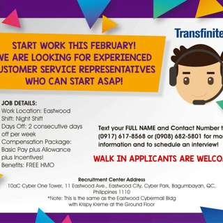 Looking for experienced call center agents