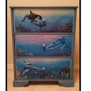 Hand painted underwater marine animals bedroom dresser set