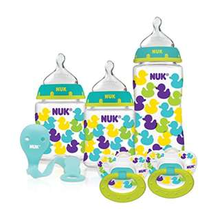 NUK Fashion Confetti Ducks Orthodontic Bottle and Pacifier Starter Set