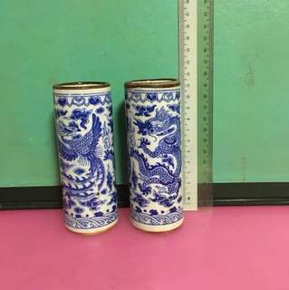 Porcelain Container (One Pair of Dragon and Phoenix)