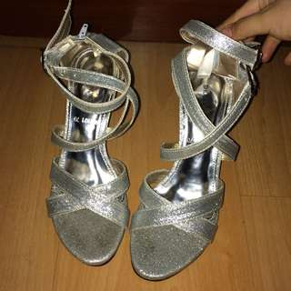 Shoes Unlimited Silver Heels