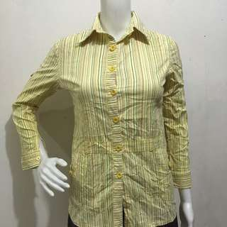 Yellow stripes casual office blouse small
