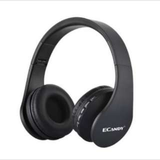 Ecandy Bluetooth Headphones Over-ear Stereo Wireless + Wired Headsets/headphones with Microphone for Music Streaming and Hands-free Calling For cellphones such as iPhone, Nokia, HTC, Samsung, LG, Moto, PC, iPad, PSP and so on & enabled Bluetooth-Black