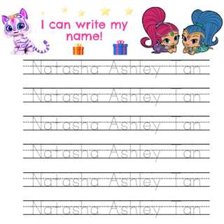 Shimmer Shine: English & Chinese Name/ ABC Penmanship Worksheets