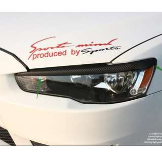 Mitsubishi Lancer EX Exterior Accessories! EVO Fenders Vents! Headlight Eyelids! Roof Vortex! Red CF Print Logo Emblem!