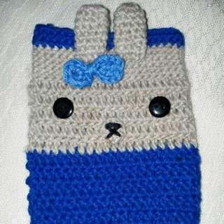 Crocheted Cellphone case / Blue Rabbit