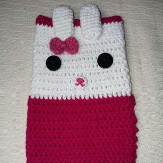 Crocheted Cellphone case / Fuchsia Pink Rabbit