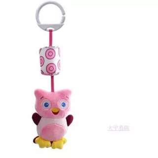 Owl Rattle Toy with wind chime bell last piece