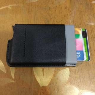 (包郵) 自動 卡盒 卡片盒 鋁 防消磁 金屬 卡夹 皮革 名片