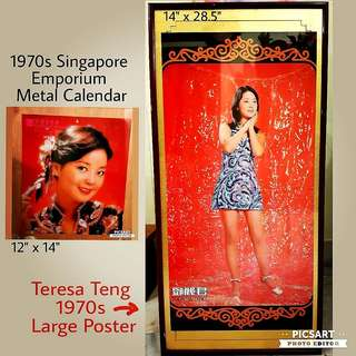 Gorgeous Vintage Poster of Teresa Teng during her hay days (right-hand side, $68) in wooden frame and Rare Singapore EMPORIUM Group Metal Signage with Teresa Teng (left-hand side, $90). Refer to photo for sizes. Both for $148. Sms 96337309.