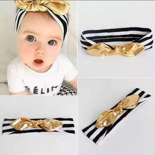 Gold Disco Black And White Stripes Bow Baby Headband