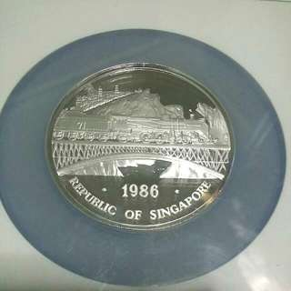 CNY OFFER !!!! 1986 Century Singapore - Malaysia Railroad 5oz 999 Fine Silver Proof Medallion