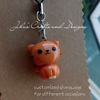 Brown Cat Charm for Bags / Phones