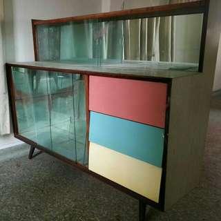 Teakwood Formica Display Cabinet/ Bar Counter