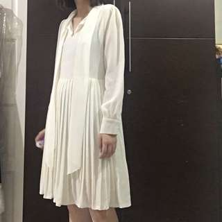 Korean brand pleated bow collar dress
