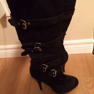 Black Buckled Heel Boots
