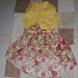 Yellow/Floral Dress 3 to 4 yrs old