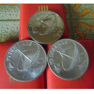 1978, 1979 & 1980 Singapore Unc $10 Satellite Coin set