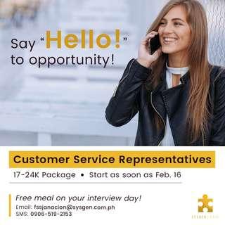 Now Hiring Customer Service Representatives