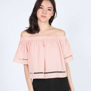 🚚 Lovebonito Tylerie Off Shoulder Top in Blush