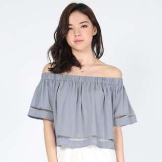 🚚 Lovebonito Tylerie Off Shoulder Top in Blue