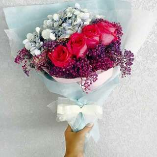 Red rose + baby breath + others flower