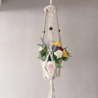 Handmade macrame pot hanger. 2 nos. available.