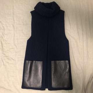 Celine cashmere Laine wool top dress XS navy blue 羊絨 羊毛 深藍色 裙 衫