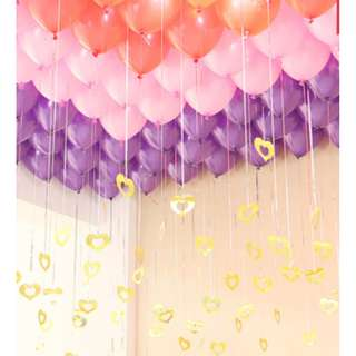 Streamers used for Balloons - Silver / Gold Stars