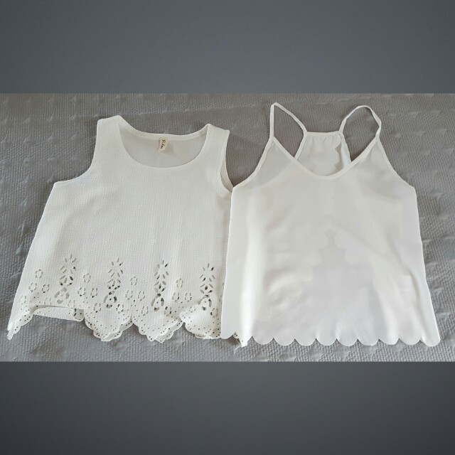 2 White Summer Tops Size 8/10