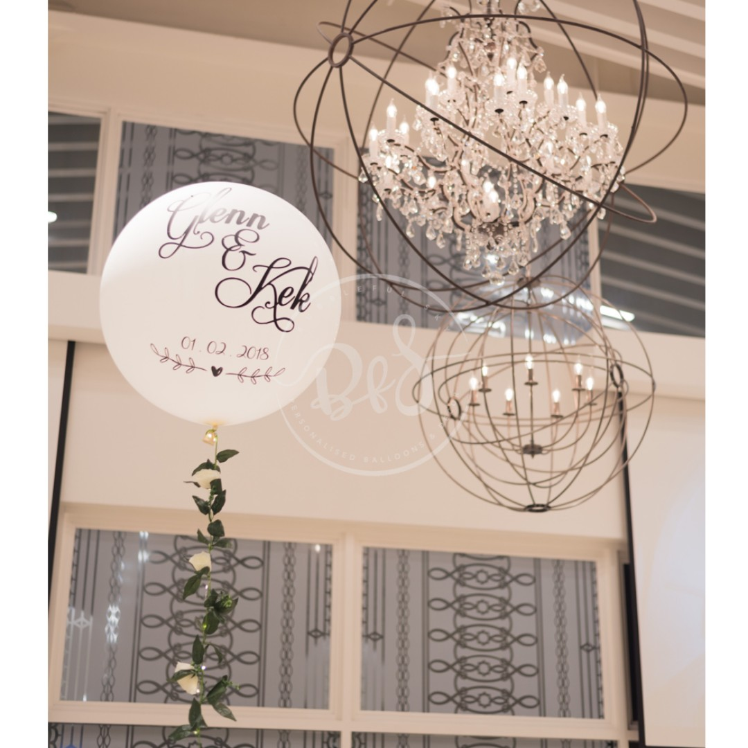 36 Inch Personalised Helium Balloon Wedding Valentine S Day Floral Garland Floral Vine Everything Else On Carousell