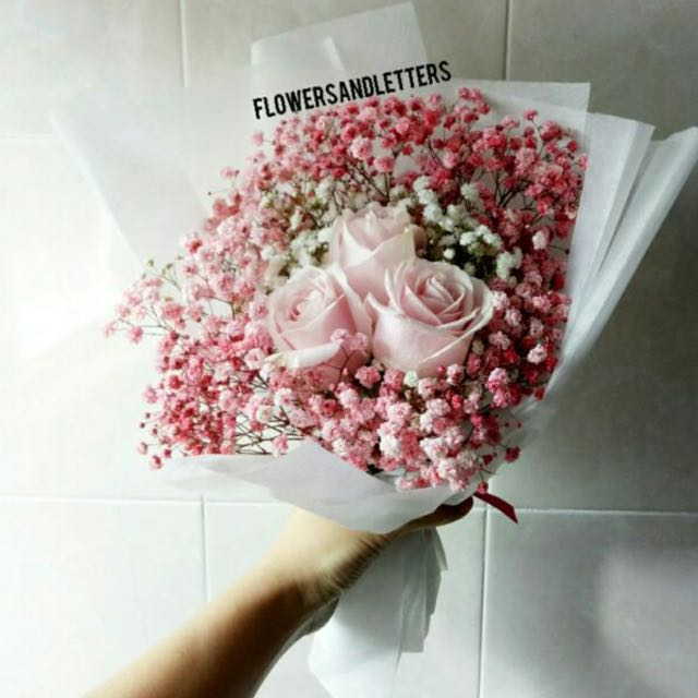 3 stalks of pink roses wraps with white and pink babys breath photo photo photo photo mightylinksfo