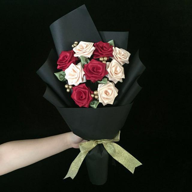 9 Ribbon Rose Flower Bouquet, Design & Craft, Handmade Craft on ...