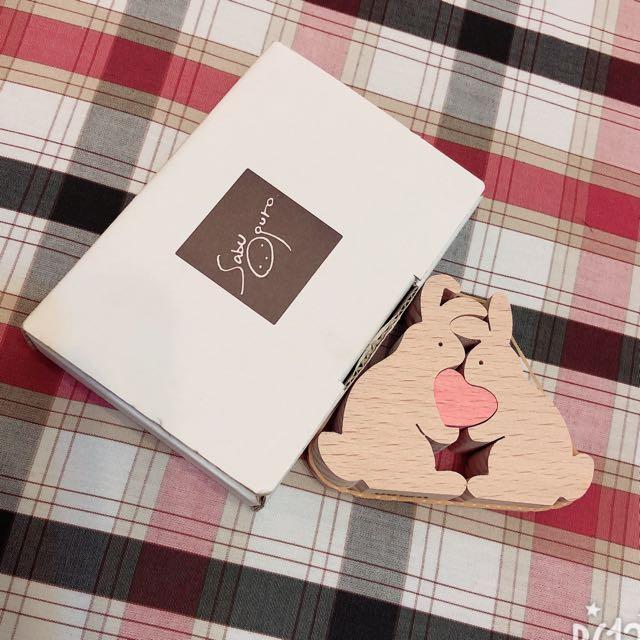 ❤️木製情侶愛心兔❤️