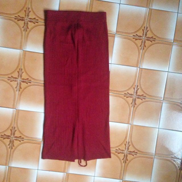紅色開衩針織長裙